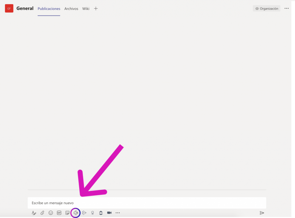 Video button in a group chat in Teams