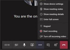 Opciones de videollamada en Teams